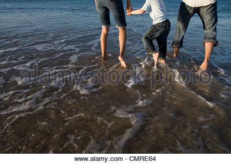 La pagaie dans la famille la mer Banque D'Images