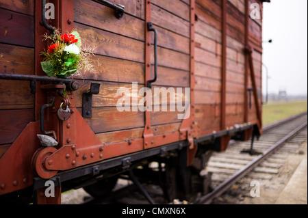 Fleurs commémoratif placé sur un chariot de transport de prisonniers à Auschwitz II Birkenau, en Pologne,