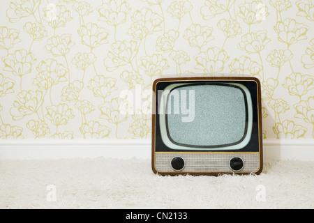 Dans la salle de télévision rétro papier peint à motifs Banque D'Images