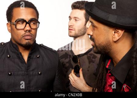 Trois hommes, Close up Banque D'Images