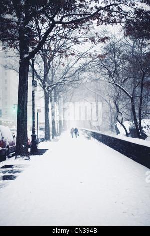 Les gens qui marchent dans la neige sur la rue