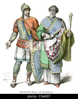 Guerrier byzantin et le Chancelier Banque D'Images