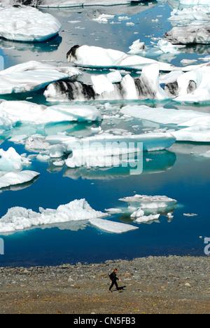 L'Islande, Région de l'Austurland Walker, en face de la lac glaciaire Jökulsárlón et ses icebergs Banque D'Images