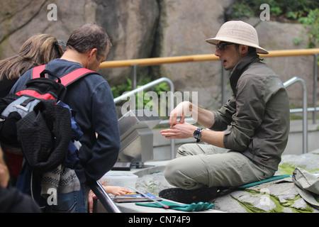 Sitting cross legged naturaliste près de touch tank l'enseignement des visiteurs Banque D'Images