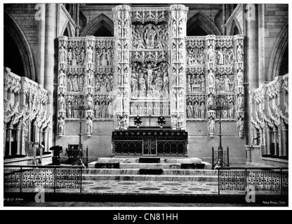 Retable de l'intérieur de la cathédrale de Truro, écran UK Cathédrale de la Bienheureuse Vierge Marie Banque D'Images