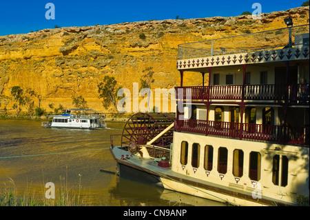 L'Australie, l'Australie, le fleuve Murray, Murray Princess bateau à aubes près de Big Bend Cliff Banque D'Images