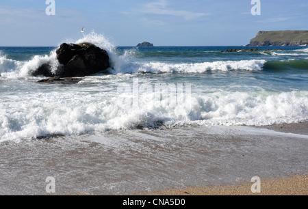 Rouleaux de rupture sur un rocher solitaire, ciel bleu, blanc crested vagues sur une plage de Cornouailles Banque D'Images