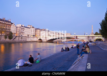France, Paris, quais de Seine, inscrits au Patrimoine Mondial par l'UNESCO, pique-nique sur une soirée d'été Banque D'Images
