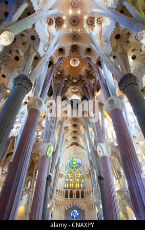 Intérieur du bâtiment de la Sagrada Familia Banque D'Images