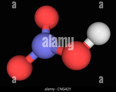 Molécule d'acide nitrique Banque D'Images