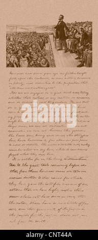 La guerre civile Vintage print de la prestation du président Abraham Lincoln Discours de Gettysburg et une copie Banque D'Images
