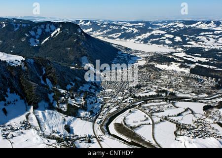 Vue sur le lac d'Immenstadt Alp, Alpsee, en hiver, l'Allemagne, Bavière, Allgaeu, Immenstadt Banque D'Images