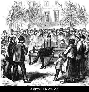Événements, guerre franco-prussienne 1870 - 1871, l'occupation de Paris, un officier allemand sur les Champs-Elysées, Banque D'Images