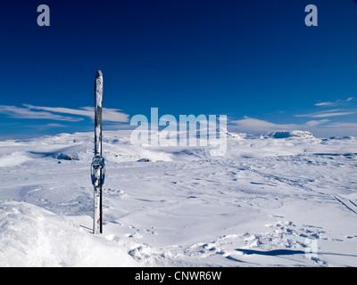 Paire de skis sur le sommet d'une montagne sur le plateau du Hardanger en Norvège Banque D'Images
