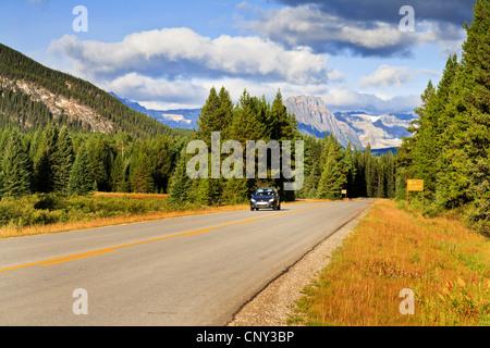 Voiture voyageurs sur une route à travers le Parc National, le Canada, l'Alberta, parc national de Banff Banque D'Images