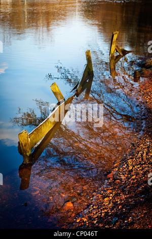 Morceaux de bois abandonnés qui dépassent de la rive du lac de barrage de Lymm, Cheshire, sur une soirée ensoleillée Banque D'Images