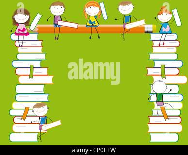 Happy kids colorés sur de nombreux livres colorés Banque D'Images