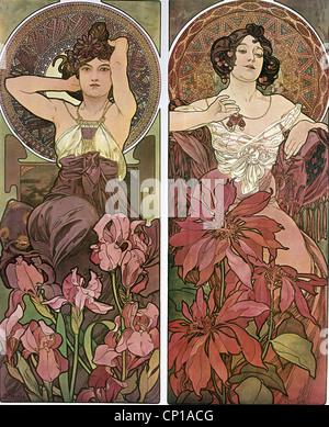 Beaux-arts, Mucha, Alfons (1860 - 1939), affiche, vers 1900, deux femmes, assis, des fleurs, des cheveux, de l'Art Banque D'Images