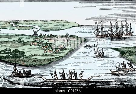 Géographie / voyage, États-Unis d'Amérique, New York, first settlement Fort New Amsterdam de la Dutch, gravure sur Banque D'Images