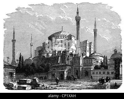 Géographie / Voyage, Turquie, Istanbul, Sainte-Sophie, vue intérieure, gravure en bois, 19e siècle, minaret, minarets, Banque D'Images