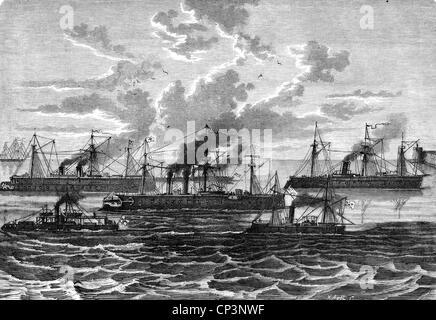 Evénements, guerre franco-prussienne 1870 - 1871, guerre navale, flotte allemande d'irongres à Wilhelmshaven, ironglads 'Kronprinz', 'Arminius', 'Habicht', 'Koenig Wilhelm', 'Prinz, droits-supplémentaires-Clearences-non disponible