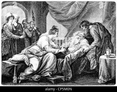 Le Roi Lear et sa fille Cordelia, après la tragédie de William Shakespeare, 1564 - 1616, un acteur anglais dramaturge, Banque D'Images