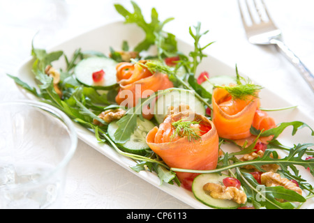 Salade de saumon fumé Banque D'Images