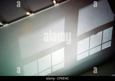 Réflexions, les ombres et les modes fenêtre moulé sur le plafond voûté d'un bureau à domicile. Banque D'Images