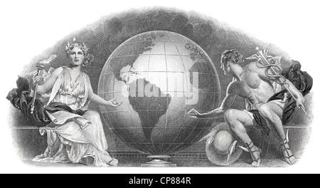 Certificat d'actions historiques, détail de la vignette, représentation allégorique des dieux olympiques et Demeter Banque D'Images