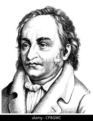 Jean Paul ou Johann Paul Friedrich Richter, 1763 - 1825, un écrivain allemand, Historische Mischtechnik aus dem 19. Jahrhundert, Portrai
