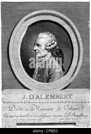 Jean-Baptiste le Rond également connu sous le nom de D'Alembert, 1717 - 1783, un mathématicien français, physicien Banque D'Images