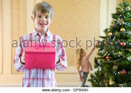 Portrait of boy (7-9) avec boîte cadeau rose, soeur(4-6) hanging décoration d'arbre de Noël en arrière-plan Banque D'Images