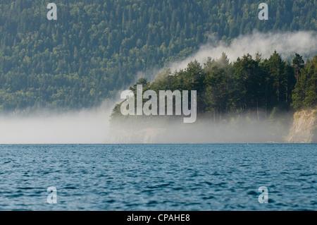 États-unis, WA, îles San Juan. Tôt le matin, le brouillard se forme le long de masse terrestre. Banque D'Images