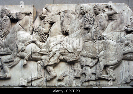 L'art grec Parthénon. XLIII Frise du Nord. Les cavaliers. Banque D'Images
