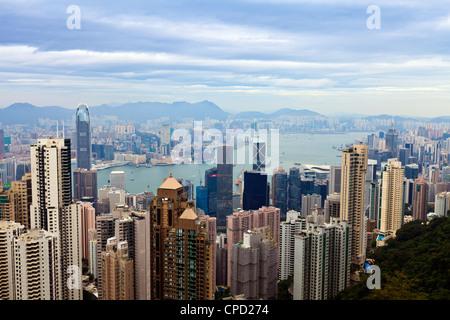 Hong Kong cityscape vue depuis le Pic Victoria, Hong Kong, Chine, Asie Banque D'Images