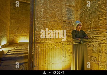 Bas-relief sur les murs du temple d'Horus, Edfou, Egypte, Afrique du Nord, Afrique Banque D'Images