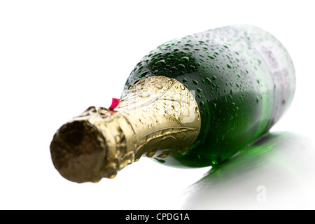 Bouteille de champagne humide froid vin sur fond blanc Banque D'Images