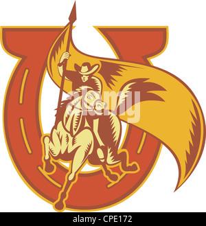 Illustration d'un rodeo cowboy riding horse portant un drapeau avec horseshoe fait en rétro style gravure sur bois. Banque D'Images