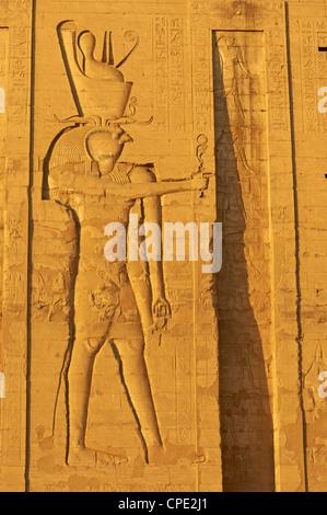 Bas-relief sur les murs, Temple d'Horus, Edfou, Egypte, Afrique du Nord, Afrique Banque D'Images