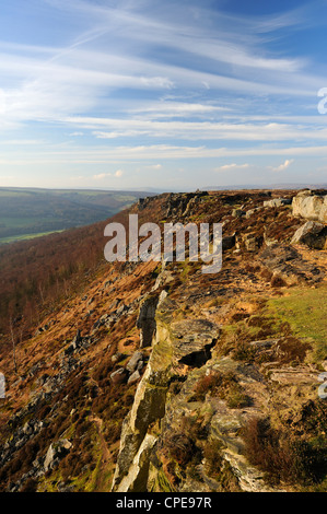 Froggatt et Curbar Edge, parc national de Peak District, Derbyshire, Angleterre, Royaume-Uni, Europe Banque D'Images