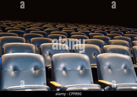 Dos des sièges bleu vide dans une salle de cinéma.