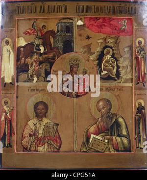 Beaux-arts, art religieux, Vierge Marie, Vierge de Tchernigov, autour des Saints Elias, Demetrius, Jean Chrysostome, Banque D'Images