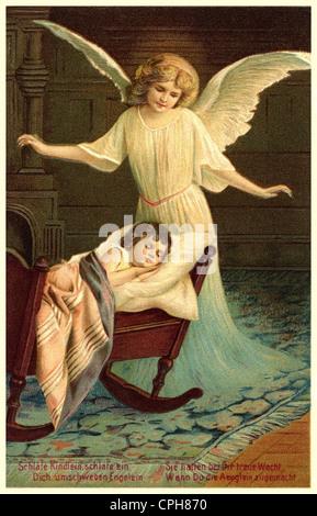 La religion, le christianisme, l'ange, ange gardien, la protection de la petite fille, lithographie, Allemagne, Banque D'Images