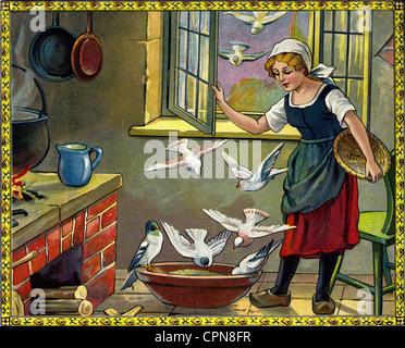 La littérature, le conte de Grimm, Contes de Fées', 'Cinderella', les bons rendez-vous dans le pot, les mauvaises Banque D'Images