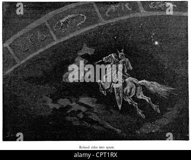 Roland manèges dans l'espace. Illustration de la légende de Croquemitaine par Gustave Doré Banque D'Images