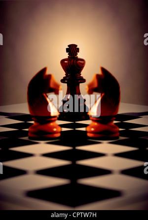 Roi noir avec la lumière derrière, deux chevaliers blancs pour la symétrie en miroir, sur la diagonale chess board