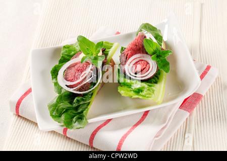 Roast Beef sandwich ouverte Banque D'Images