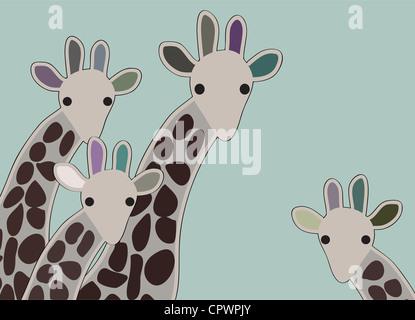 Famille girafe à la surprise, avec un fond vert Banque D'Images