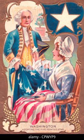 Washington l'adoption du point 5 étoiles - Une illustration de George Washington et la conception de Betsy Ross Banque D'Images
