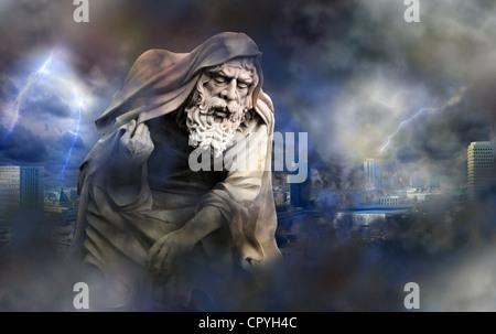 Apocalypse doomsday Armageddon dans la ville avec l'ange de la mort résumé créative Banque D'Images